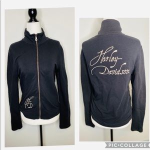 Harley Davidson Black Zip-up Jacket Embroidered